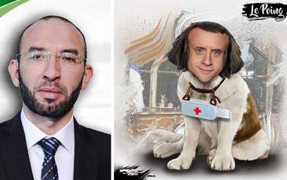 Le député islamiste radical Mohamed Affès représente Emmanuel Macron en chien