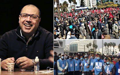 Les manifestants d'Ennahdha scandent des slogans en faveur de Mechichi