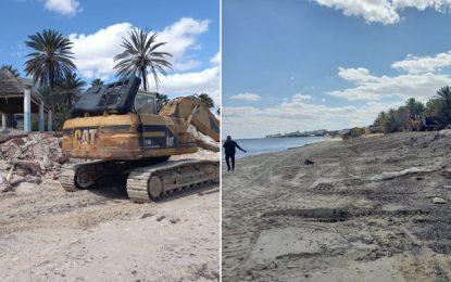 La campagne de démolition des constructions illégales sur le domaine public maritime se poursuit à Sousse (Phots)