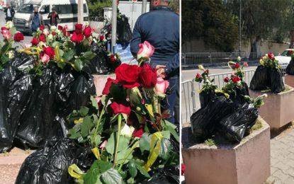 Pour protester contre le retard du renvoi des déchets italiens, ils déposent des fleurs près de l'ambassade d'Italie en Tunisie (Photos)