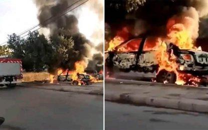 Arrestation de 3 salafistes qui ont mis le feu à deux véhicules devant le district sécuritaire de Teboulba (Vidéo)