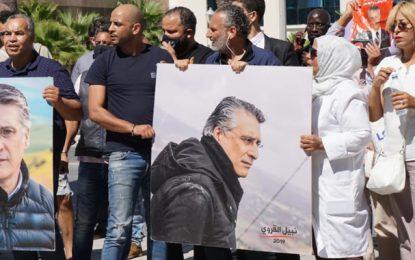 Des députés Qalb Tounes se rassemblent devant le Pôle judiciaire, où Nabil Karoui est en sit-in (Photos)