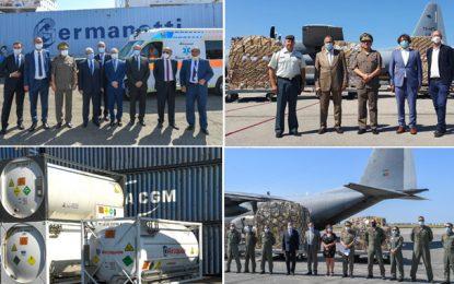 Solidarité Covid : La Tunisie reçoit de nouvelles aides de l'Italie, de la Belgique et du Portugal (Photos)
