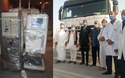 Tunisie : La délégation de Dhehiba reçoit 40 tonnes d'aides médicales offertes par la société civile libyenne (Photos)