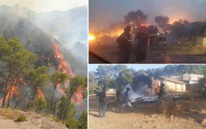 Jendouba-Kef : 33 personnes évacuées, 3 autres à l'hôpital et les pompiers poursuivent leur lutte contre les flammes (Photos)