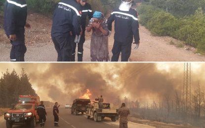 Incendies à Jendouba : L'armée et la protection civile évacuent des habitants de Fernana (Photos)