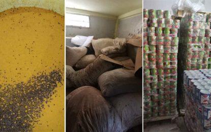 Ariana : Des tonnes de produits alimentaires périmés, découverts dans un entrepôt à Mnihla (Photos)