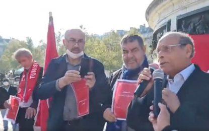 Depuis Paris, Marzouki manifeste avec Khlifi, Ben Salem et Badi contre Saïed et appelle la France à intervenir